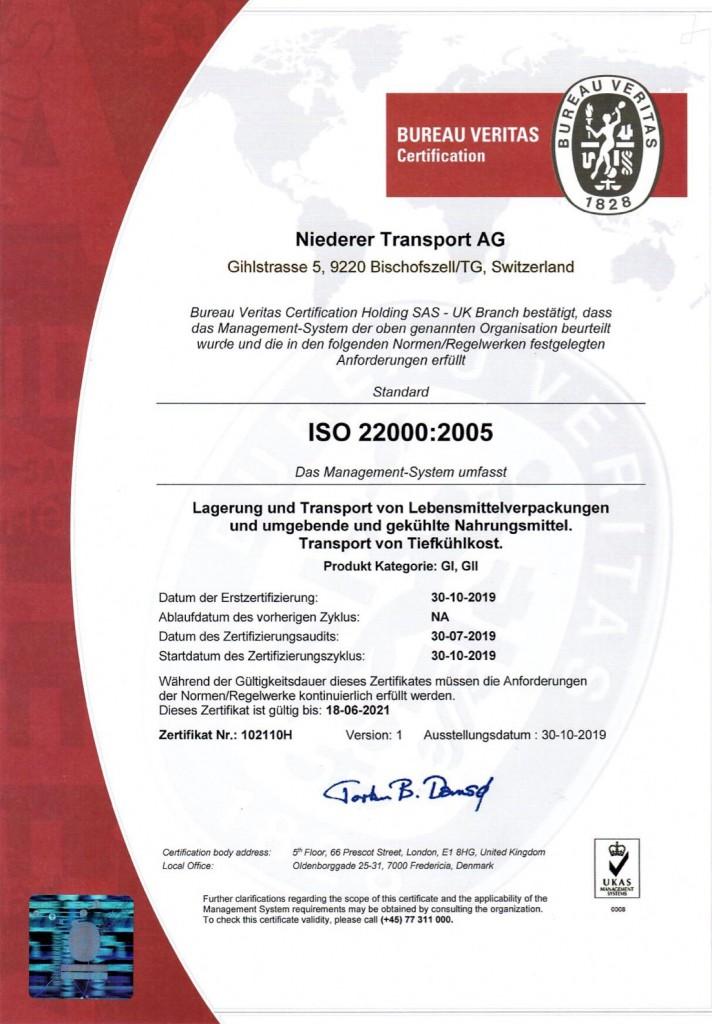 ISO 22000:2005 Zertifikat